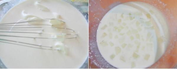 Cách là sữa chua nha đam - đổ nha đam vào hỗn hợp sữa trộn đều lên với nhau