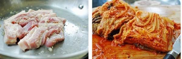 Cách làm kim chi kho thịt - Trộn đều thịt cùng gừng và tỏi, kim chi cắt thành 2-3 khúc