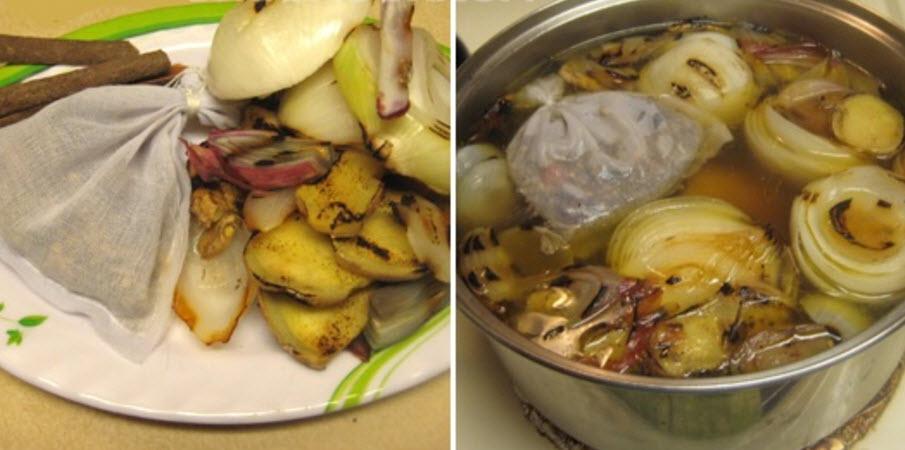 Cách nấu phở bò ngon - Nồi nước dùng sau khi cho đầy đủ gia vị