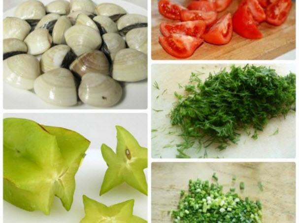 Nguyên liệu sau khi sơ chế - cách nấu canh ngao chua