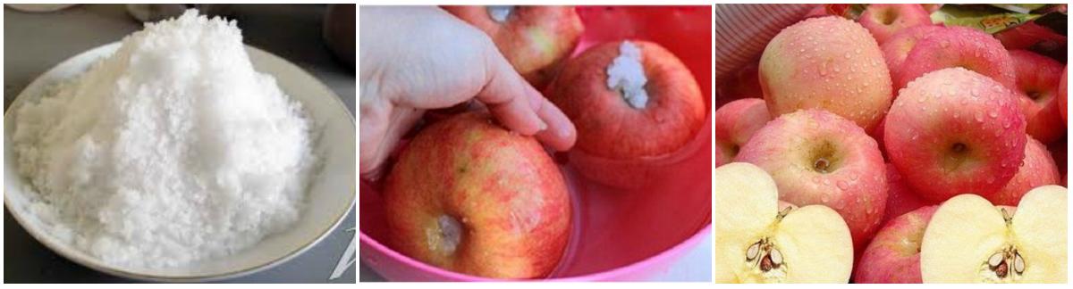 Cách làm giấm táo - Ngâm táo với nước loãng pha muối để khử bỏ bụi bẩn và thuốc hóa học trên vỏ táo