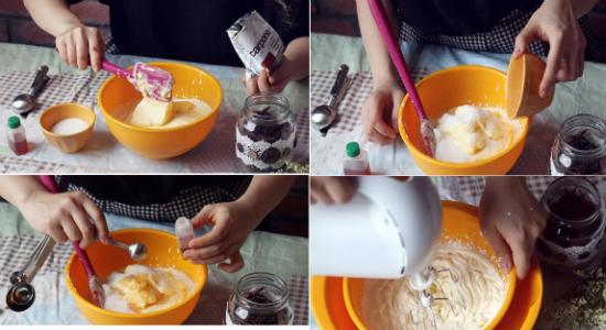 Cách bánh bánh Tiramisu hoa quả - Trộn đều hỗn hợp kem whipping, phô mai, đường và vani