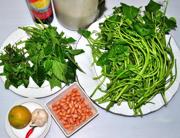 cách làm nộm rau muống - Nguyên liệu cần chuẩn bị để làm nộm rau muống