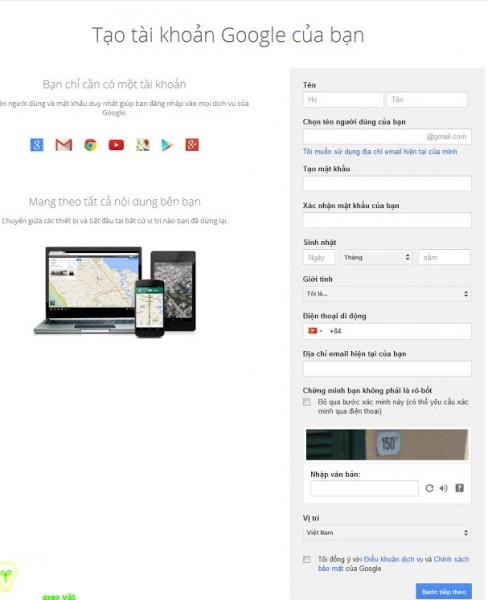 Đăng ký gmail nhanh nhất - Form đăng ký tài khoản gmail