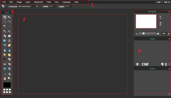 Giao diện chính của phần mềm photoshop online