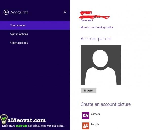 Cách cài password cho máy tính - Giao diện cài đặt mật khẩu win 8.1