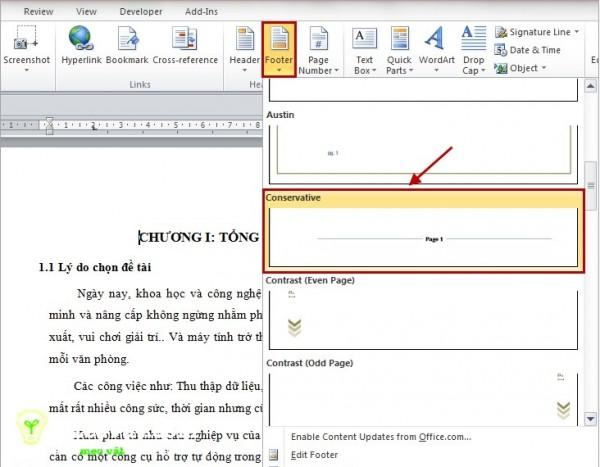 Cách đánh số trang trong word - Chọn cách đánh dấu trang ở giữa trang word