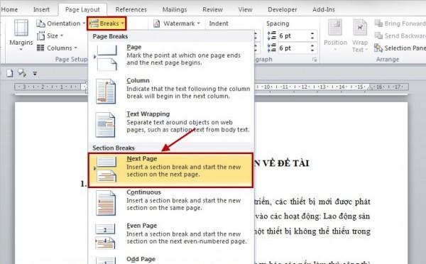 Cách đánh số trang trong word - Tiến hành tách văn bản trong word