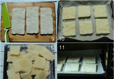 Cách làm cơm cháy - Cắt cơm thành những miếng nhỏ vừa ăn