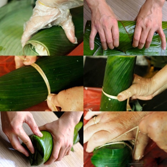 Cách làm giò lụa - Thực hiện gói giò lụa lại