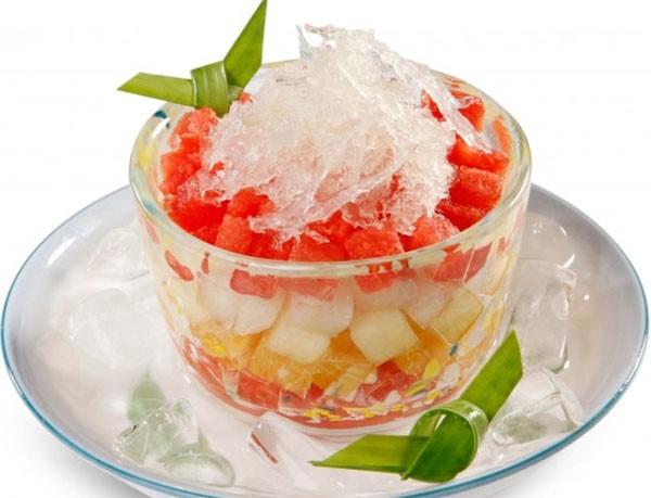 Thưởng thức hoa quả dầm cùng đá bào - cách làm hoa quả dầm