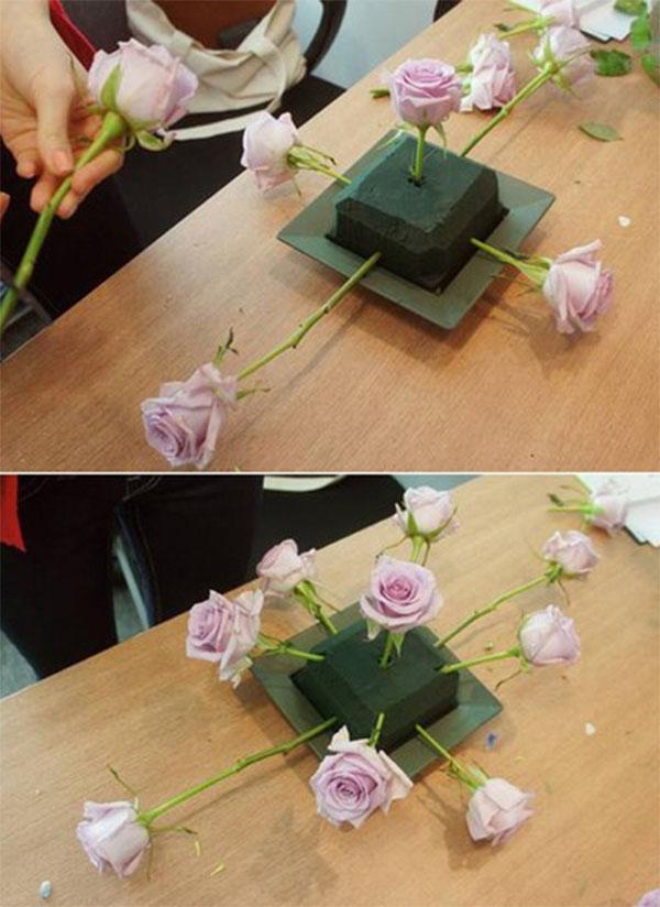 Thực hiện cắm hoa - cách cắm hoa hồng đẹp