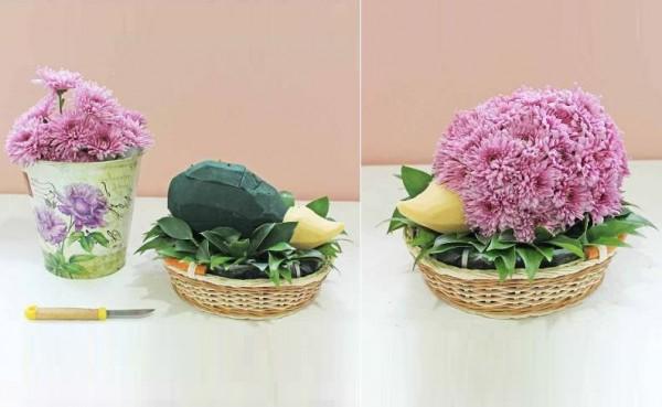 Lẵng hoa hình nhím từ cúc tím - cách cắm hoa ngày tết đẹp - hướng dẫn cắm hoa ngày tết