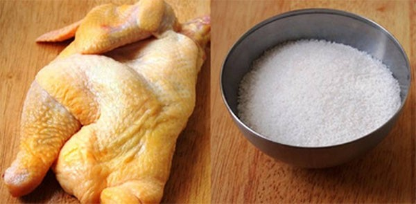Nguyên liệu làm gà hấp muối - cách làm gà hấp muối