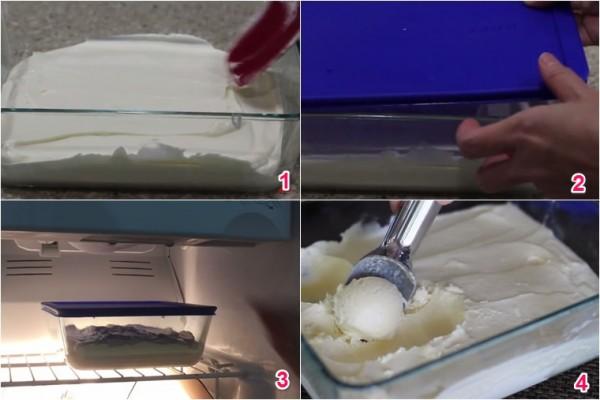Cho kem sầu riêng vào khuôn và để vào ngăn đá - cách làm kem sầu riêng tại nhà