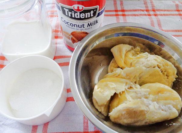 Các nguyên liệu làm kem sầu riêng - cach lam kem sau rieng