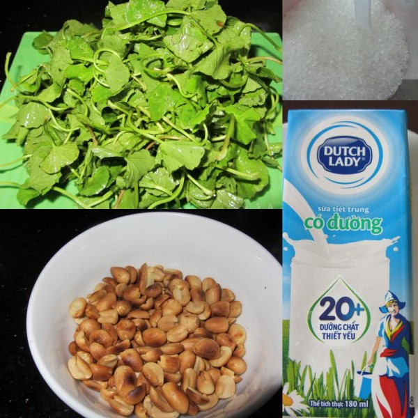 Nguyên liệu làm sinh tố rau má - cách làm sinh tố rau má