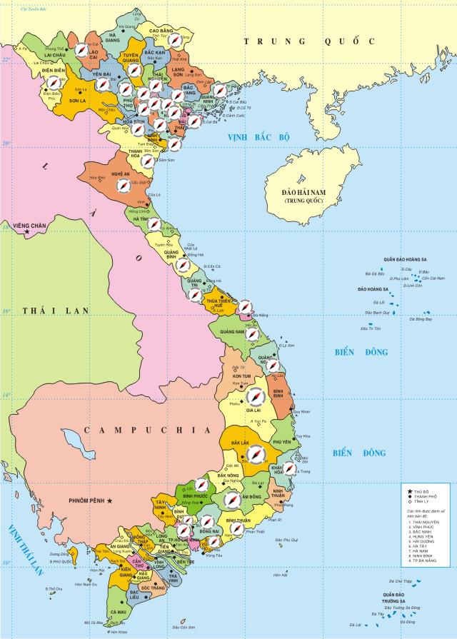 Bản đồ tất cả cách tỉnh thành Việt Nam - Mã bưu điện và mã Bưu chính Zip/Postal code các tỉnh Việt Nam