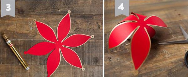 Tạo hình cánh hoa - cách làm đèn lồng bằng giấy đơn giản