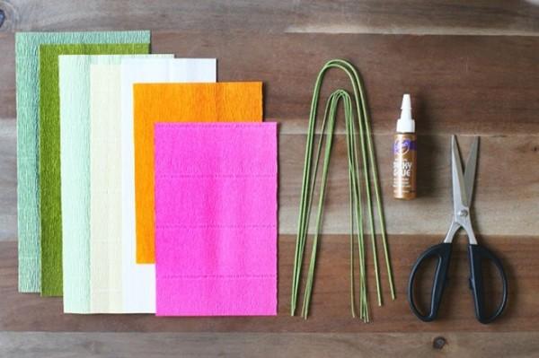 Chuẩn bị giấy nhún và các dụng cụ - cách làm hoa bằng giấy nhún