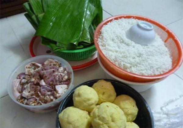 Nguyên liệu gói bánh tét - cách gói bánh tét chuối