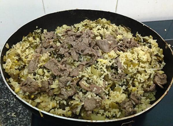 Rang cơm với dưa bò - cách làm cơm rang dưa bò
