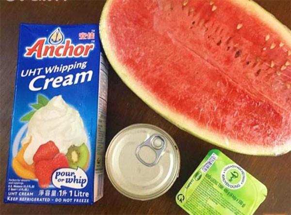 Nguyên liệu làm kem dưa hấu - cách làm kem trái cây