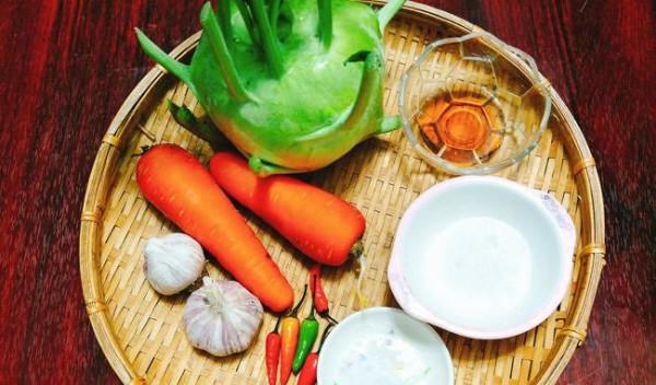 Nguyên liệu làm nộm su hào - cách làm nộm su hào cà rốt