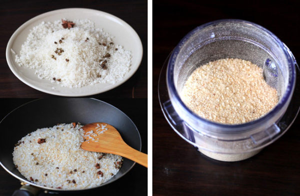 Rang và xay gạo nấu cháo - cách nấu cháo sườn sụn