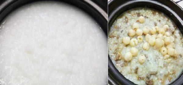 Cách nấu cháo tim gà hạt sen