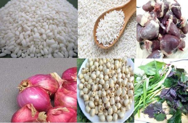 Nguyên liệu chính của món cháo tim gà hạt sen