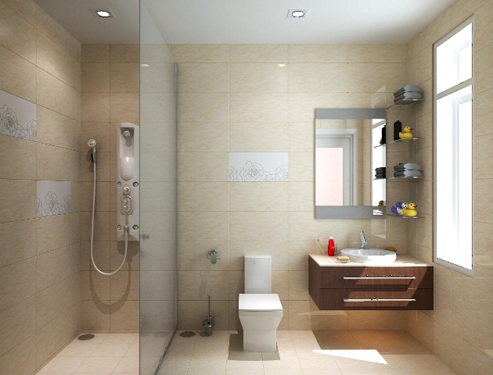 Nhà vệ sinh sử dụng gam màu sáng cùng với 1 chút điểm nhấn