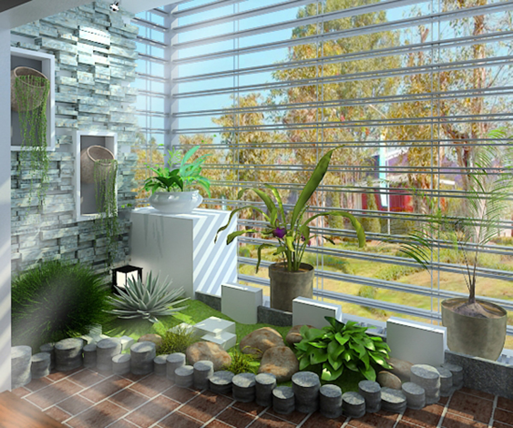 Tiểu cảnh khô giúp cho không gian trong nhà được xanh mát , tiếp cận với thiên nhiên nhiều hơn