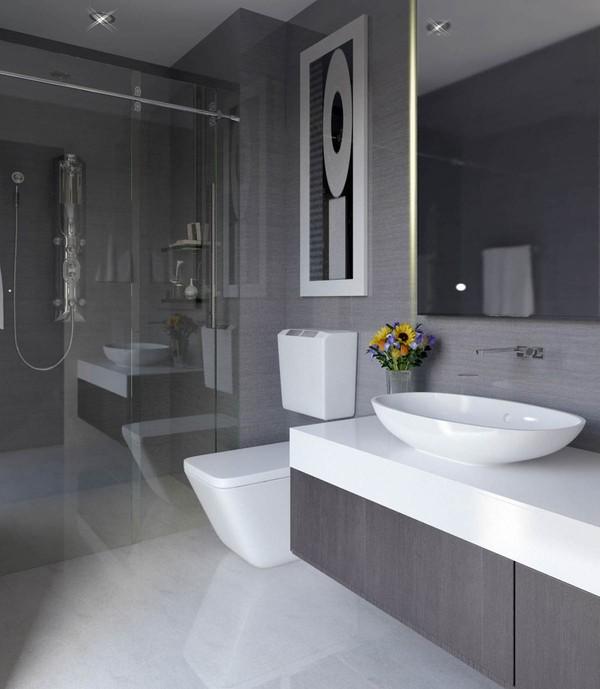 Phòng vệ sinh sử dụng tone màu ghi sáng sạch sẽ