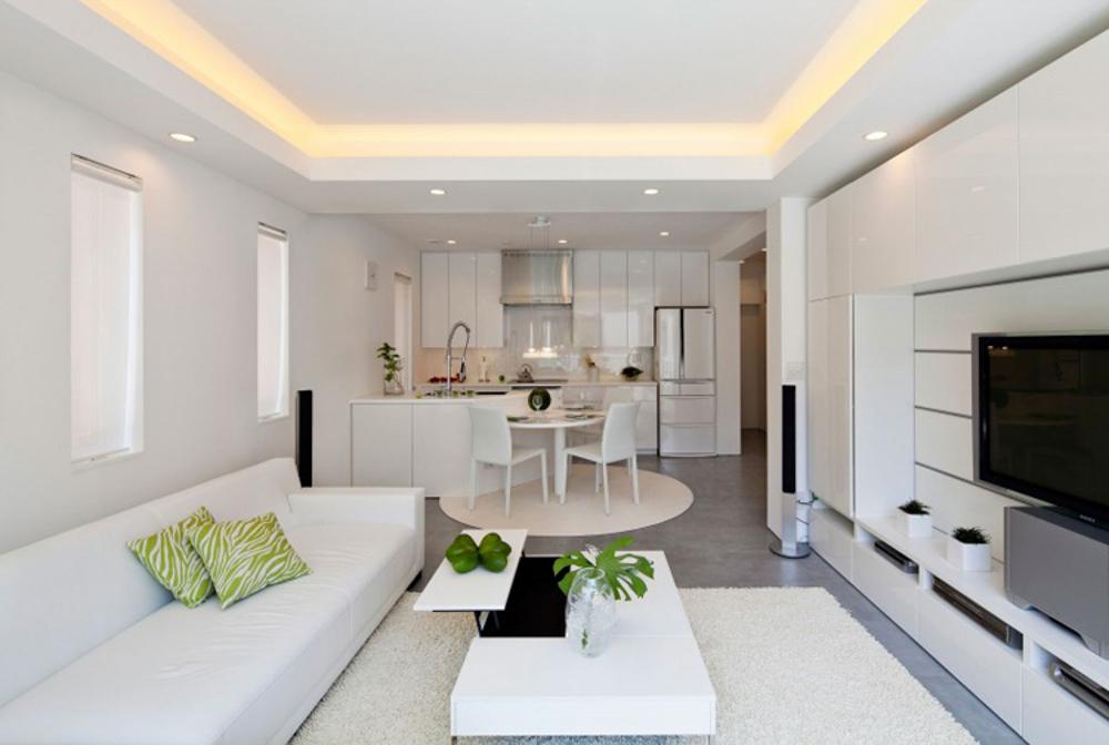 Phòng khách liên thông với bếp và ăn tạo không gian rộng rãi hơn