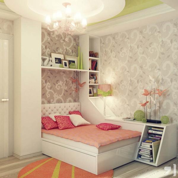 Phòng ngủ nhỏ với màu sắc nhẹ nhàng, giường ngủ được tích hợp thêm tủ và ngăn chứa đồ tiện dụng