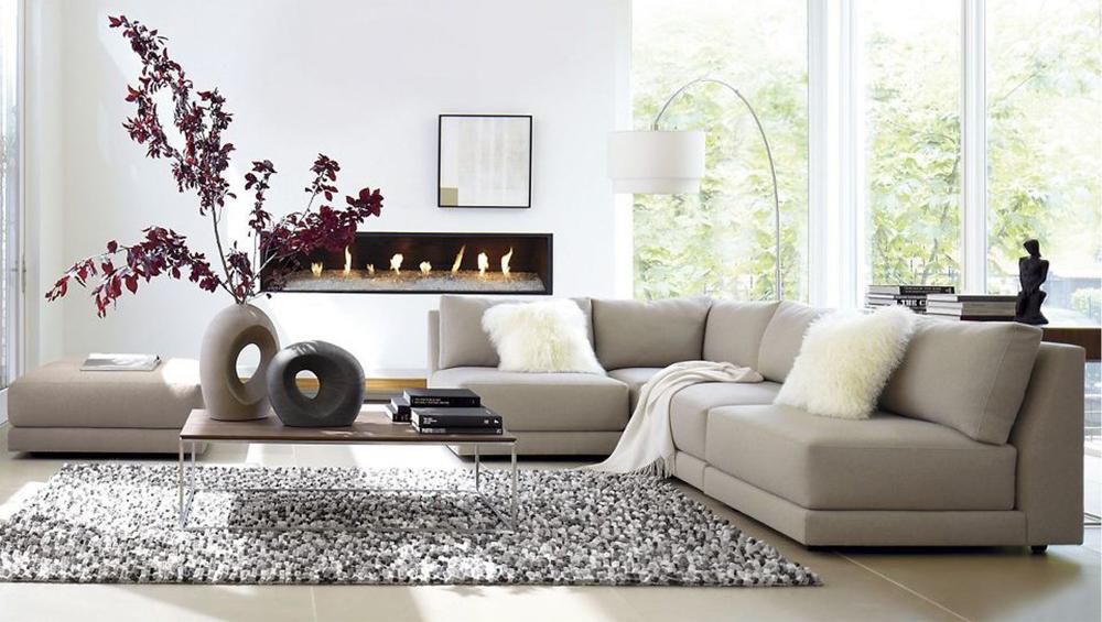 Ghế sofa chữ L màu xám nhã nhặn lịch sự