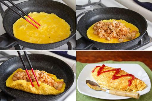 Để món trứng cuộn được đẹp mắt, chảo phải phẳng, tráng trứng thật mỏng.